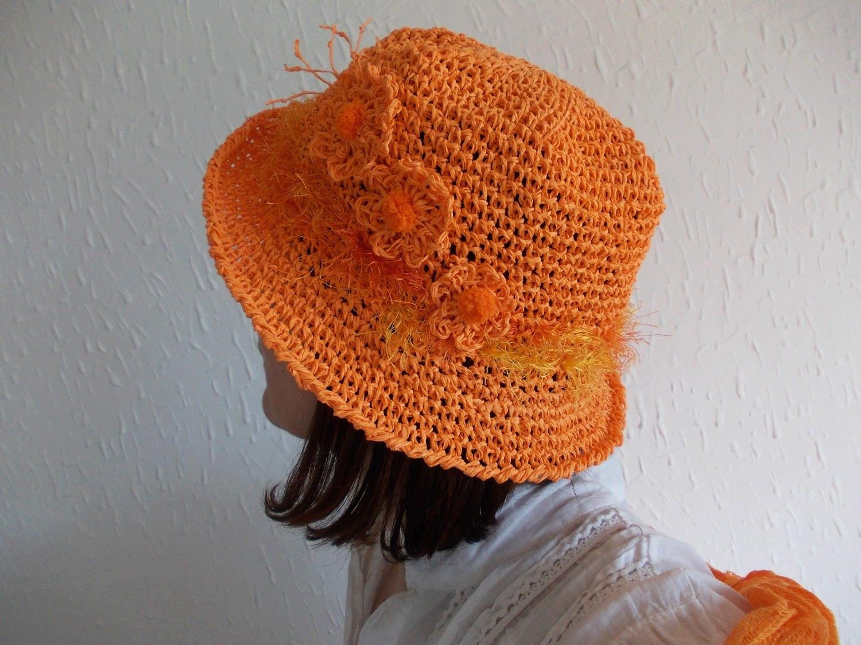 Orange Bast Hut... Handarbeit häkeln Bast Hut Frühling Garten
