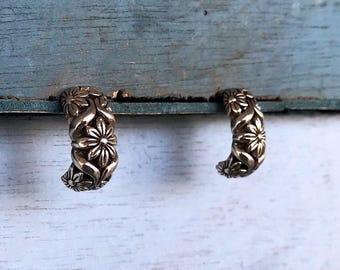 Sterling Silver Flower Half Hoop Earrings