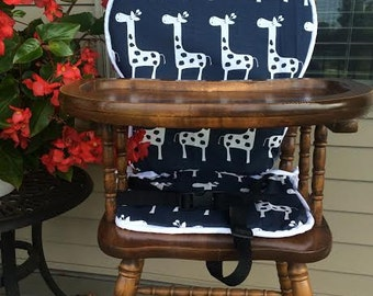 High CHigh Chair Cover. High chair pad. high chair cushion. wooden high chair pad. highchair cushion. highchair pad.  Navy Giraffe