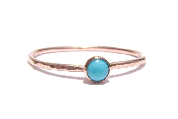 Sale SOLID Rose Gold Turquoise Ring Turquoise Rose Gold