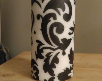 """Large 6""""x3"""" Black and White Damask Decor Candle"""