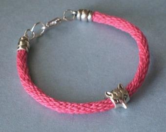 Silver Fox  Bracelet - hot pink kumihimo braid
