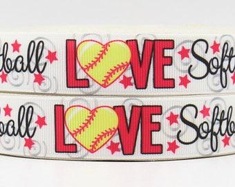 "Love Softball Grosgrain 7/8"" Printed Ribbon"