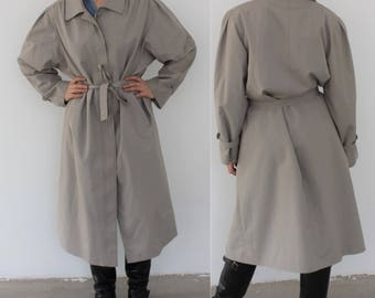 Vintage 70s TRENCH Coat Mens 1970s BEIGE Detective Sherlock Belted Rain Coat Long Jacket Duster Retro Outerwear size Extra Large XL