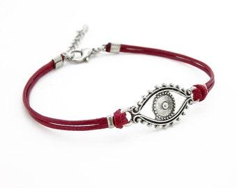 Evil Eye Bracelet, Wine Red Bracelet, Waxed Cord Bracelet, Silver Eye Bracelet