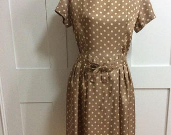 1950's Taupe and Cream Spot Dress with Bow Belt