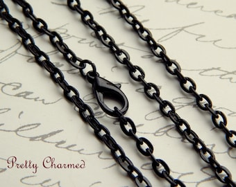 5 Black Vintage Style Rolo / Link Chain Necklaces 24 inches Long with Lobster Clasp Closure