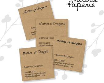 50, 100, 150 or 200 super simple SQUARE kraft business cards- designed and printed