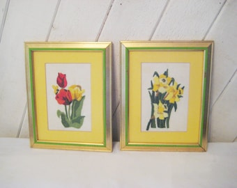 Pair of Embroidered daffodil and tulip pictures, yellow, red  flower picture, framed art, vintage wall hanging, mid century, 50s 60s, 969