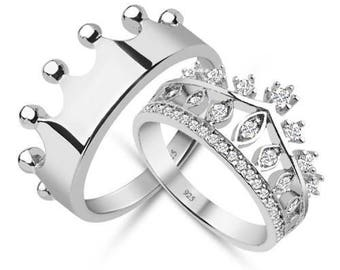 crown ring,silver crown ring,queen ring,king ring,crown ring set,crown wedding rings,crown promise rings,crown engagement rings,queen crown