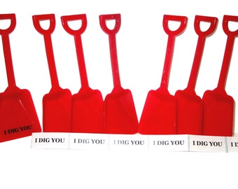 36 Red  Toy Shovels and 36 I Dig You Shovels Made in America Lead Free