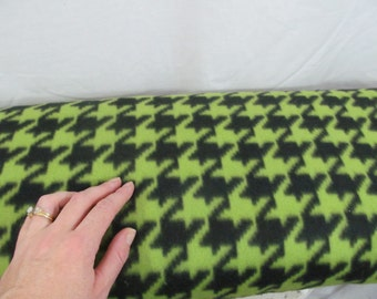 Fleece Fabric Houndstooth per 1 yard - Kiwi and Black Print - use for ponchos, scarves, mittens or blankets