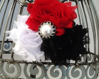 Red, black, white hair clip, red flower hair clip, black hair clip, girls hair clip flower hair clip, shabby chic hair accessory