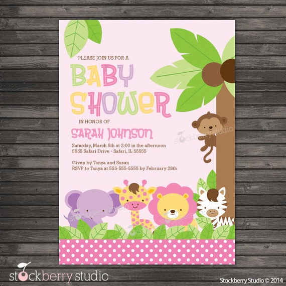Girl safari animals baby shower invitation printable pink filmwisefo Images