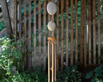 Wind Chimes with Natural Pacific Beach Stones and Large Copper Chimes
