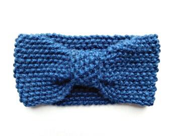 Ready to Ship / Handknit Bow Headband in Navy