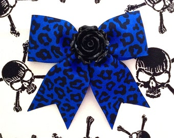 Hellcat Rosie Leopard Hair Bow - Electrifying Blue - Psychobilly - Retro - 50s