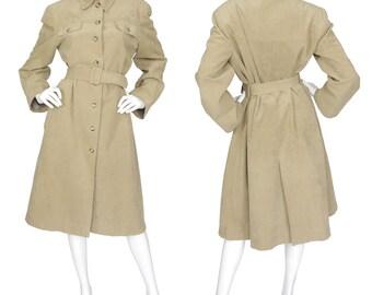 Mollie Parnis 1970s Vintage Beige Ultra Suede Trench Coat Sz L XL