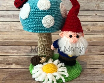 PDF PATTERN: Gnome and Toadstool Amigurumi **Crochet Pattern Only, Not Actual Doll!** Crochet Gnome