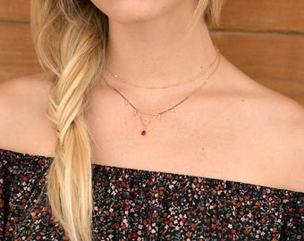 Garnet Necklace | Boho Necklace | Dainty Gold Necklace | Pink Garnet with Moonstone Accents