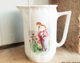 Antique French Pitcher, 1800's porcelain, art nouveau porcelain, art nouveau pitchers, bone china pitchers