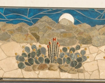 Stained Glass natural stone Mural Panaramic Desert Landscape mounted in a sturdy steal frame