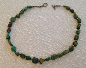 Rustic Turquoise Nugget Necklace