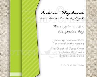 BAPTISM INVITATION LDS Tie Boy Baptism Priesthood Preview Invitation Picture Latter-Day Saint Mormon diy Printable Personalized - 156473899