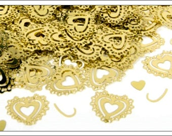 Vintage Gold Hearts table confetti, weddings, anniversary, engagement, wedding supplies, wedding decorations, table decorations, UK seller