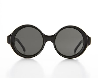 Big Round Mod Vintage Women's Sunglasses with Beveled Frame - Trudy 2