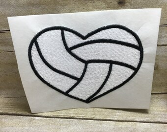 Vollyball Embroidery Design, Vollyball Heart Embroidery Design