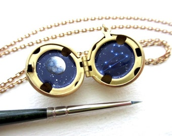 Custom Zodiac Necklace, Personalized Constellation, Made-To-Order Hand-Painted Locket