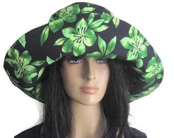 Green Black Floral Womens Wide Brim Sun Hat Beach Pool Garden Derby