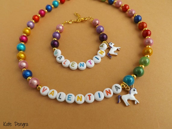 Unicorn Name Necklace and Bracelet Set