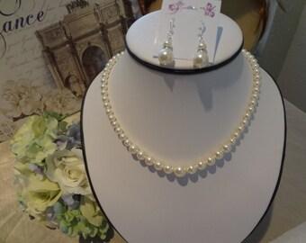 Bridesmaid pearl set Graduated Pearl Necklace Vintage Swarovski Pearl bridesmaid jewelry set, PS003