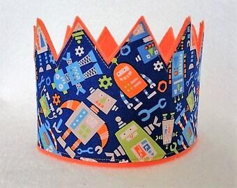 Robot Birthday Crown, Birthday Crown, Felt Birthday Crown, Robot Felt Crown, Kids Crown, Adult Crown, Boys Birthday Crown
