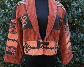 Vintage BOHO JACKET, Southwestern Print, Copper Brown Black, Corduroy Short Cropped Blazer, Retro Tribal Print Hippie Coat, India Cotton, M