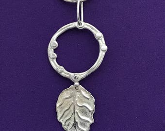 Leaf and Circle Pendant - Casual Leaf Pendant - Every Day Jewelry - Jewelry For Work - Understated Jewelry