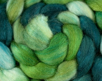 Hand Dyed BFL/Tussah Combed Top in Greens, 4oz
