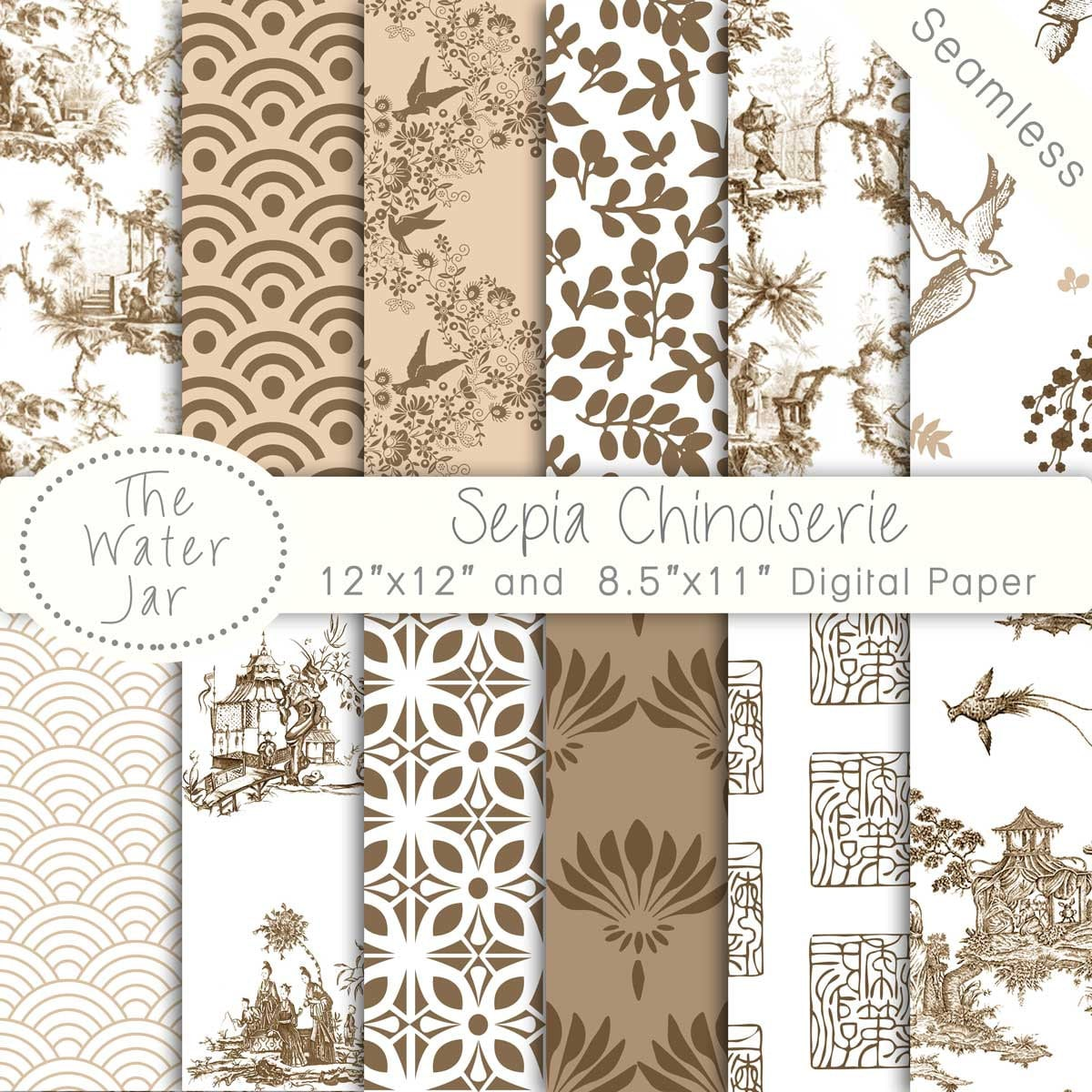Chinoiserie Wallpaper China Sepia Digital papers Chinese | 1200 x 1200 jpeg 340kB