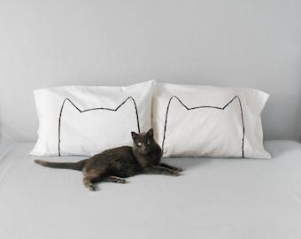 Cat Lover Gift - Cat Nap Pillow Case Set - kitten gift -  funny  pillowcase - Mother gift, gift for her, anniversary gift cotton, cat mom