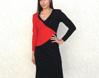Vintage 70's Frederick's of Hollywood color block Disco dress
