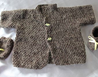Jersey, jacket, Brown, and booties for baby, doll, baby corrolle, hand knitted