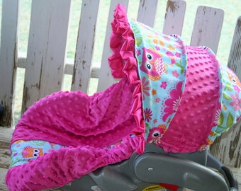 Owls and pink minky infant Car seat cover and hood cover with pink satin ruffle