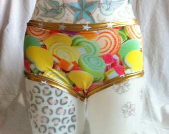 Sweets for my sweets Print Roller Derby Pole Dance Rave wear Hot pants