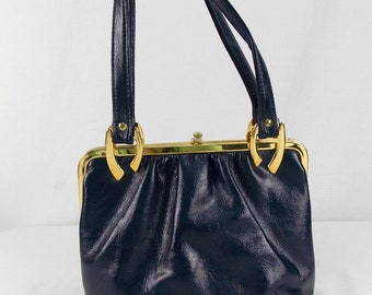 1960's Blue Vinyl Handbag with Goldtone Hardware
