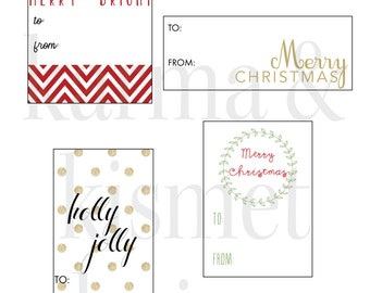 INSTANT DOWNLOAD Christmas Gift Tag Collection of 6