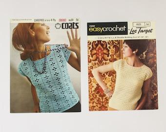 1960s Short Sleeve Crochet Sweater/Jumper Patterns from Britain / UK