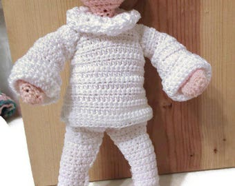 "Handmade Crochet decorative doll about 9"" high"