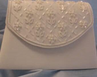 Classic Beauty Diamond White Ivory Satin Bridal Handbag Purse Wedding
